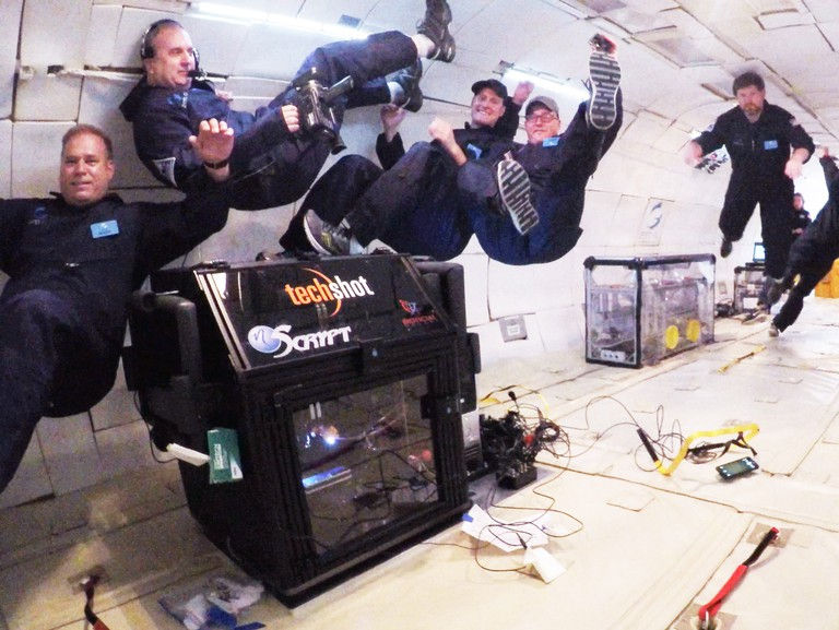The Techshot 3D printer being tested in zero gravity