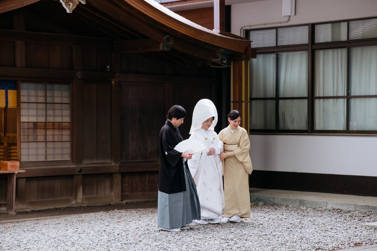 A wedding takes place at Meiji Shrine.