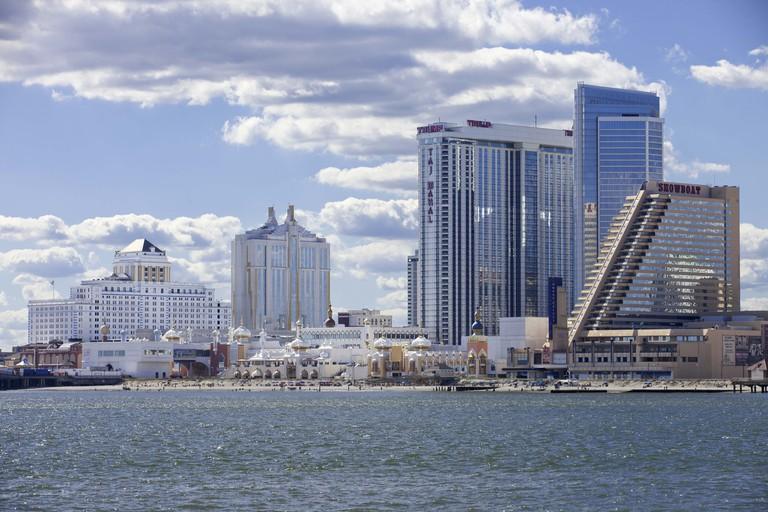 Panoramic ocean view of Atlantic City, New Jersey showing The Showboat, Taj Mahal and Resort Casino