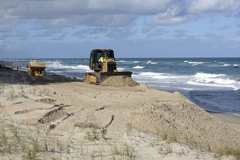 Beach replenishment after Hurricane Matthew, on Singer Island, Florida.