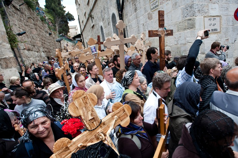 Orthodox Christian pilgrims commemorate the path Jesus carried his cross on the day of his crucifixion along the Via Dolorosa in Jerusalem