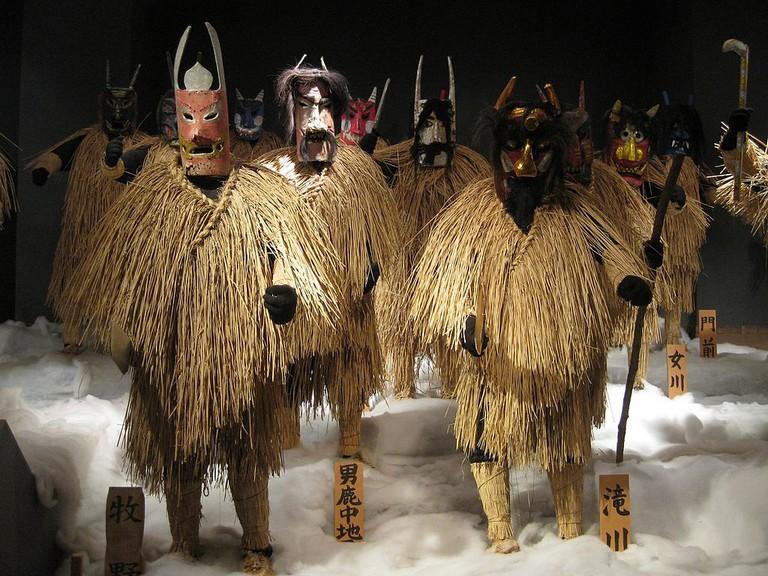 Wood and straw namahage at Namahage Museum. Oga, Akita, Japan