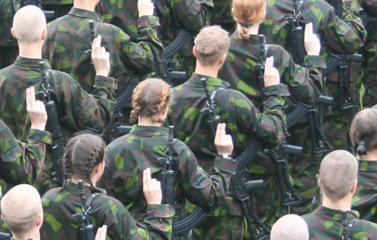 Male and female officers in the Finnish military