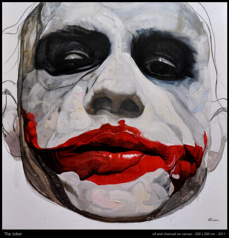"""Fernando O'Connor's """"The Joker,"""" oil and charcoal on canvas, 2011"""