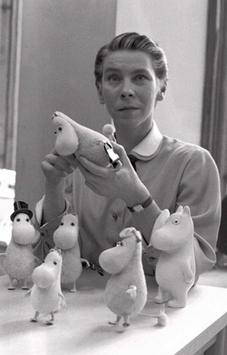 Tove Jansson and her Moomin figures/