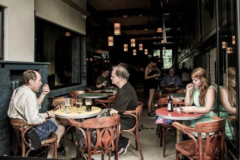 A terrace of a Montreal café-pub
