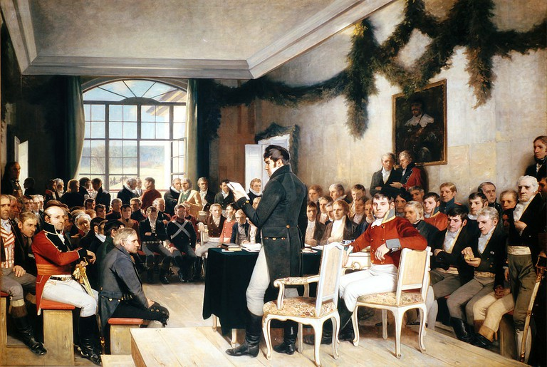 The signing of the Norwegian constitution at Eidsvoll, 1814