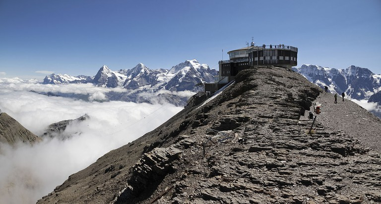 Dig in to lunch at nearly 3000m at the Schilthorn