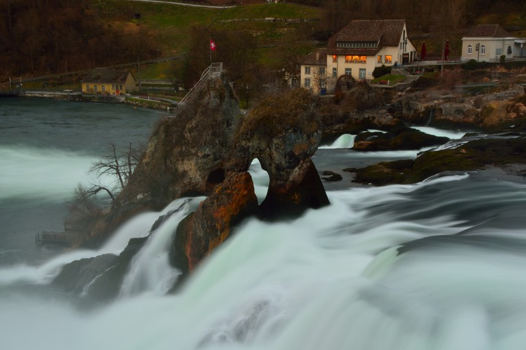 The Rhine Falls is found on the High Rhine between the cantons of  Schaffhausen and Zürich