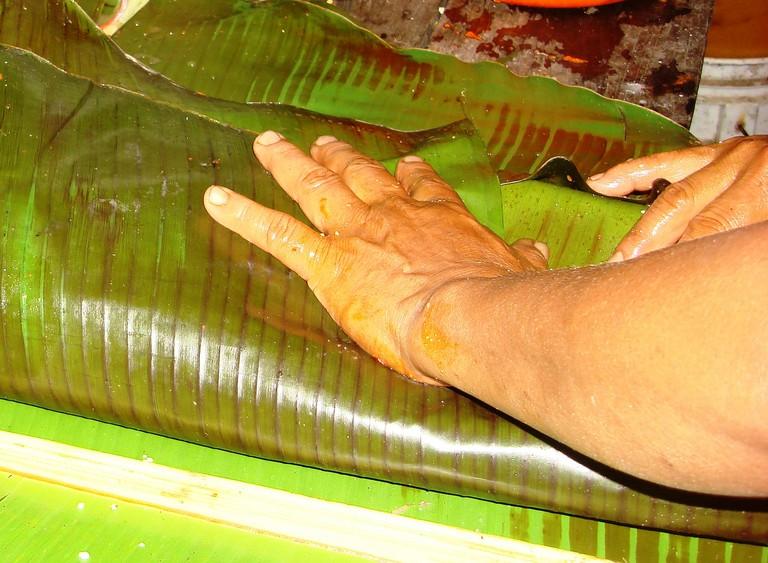 Banana leaf preparation for food