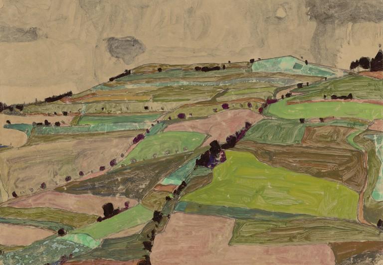 Egon Schiele, Field landscape (Kreuzberg near Krumau), 1910