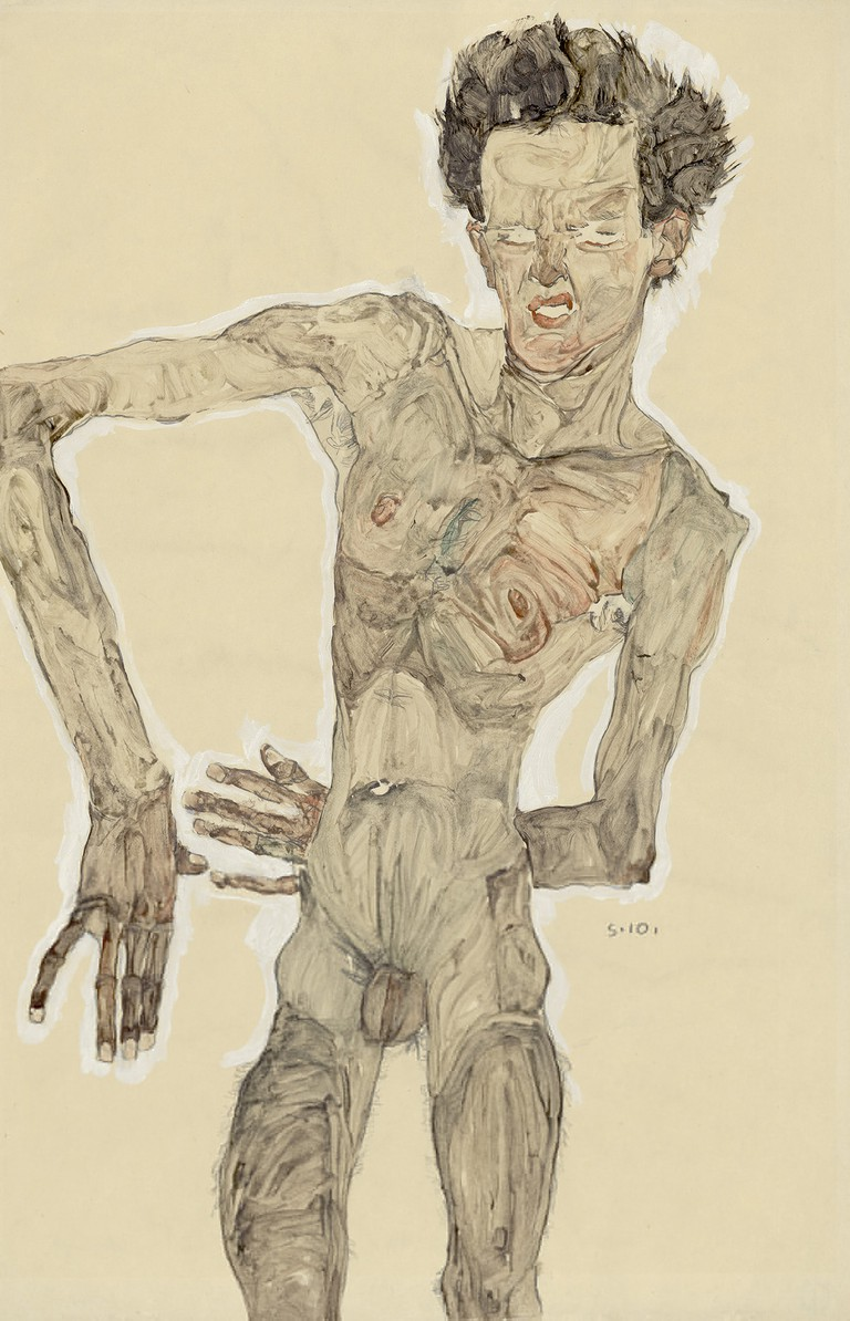 Egon Schiele Nude Self-Portrait, Grimacing, 1910 Albertina, Vienna