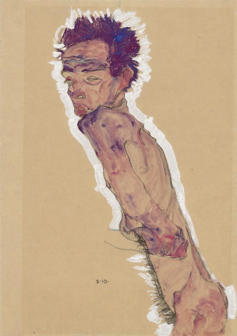 Egon Schiele, Nude self-portrait, 1910