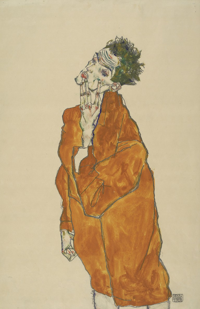 Egon Schiele Self-portrait in orange cloak, 1913 Albertina, Vienna