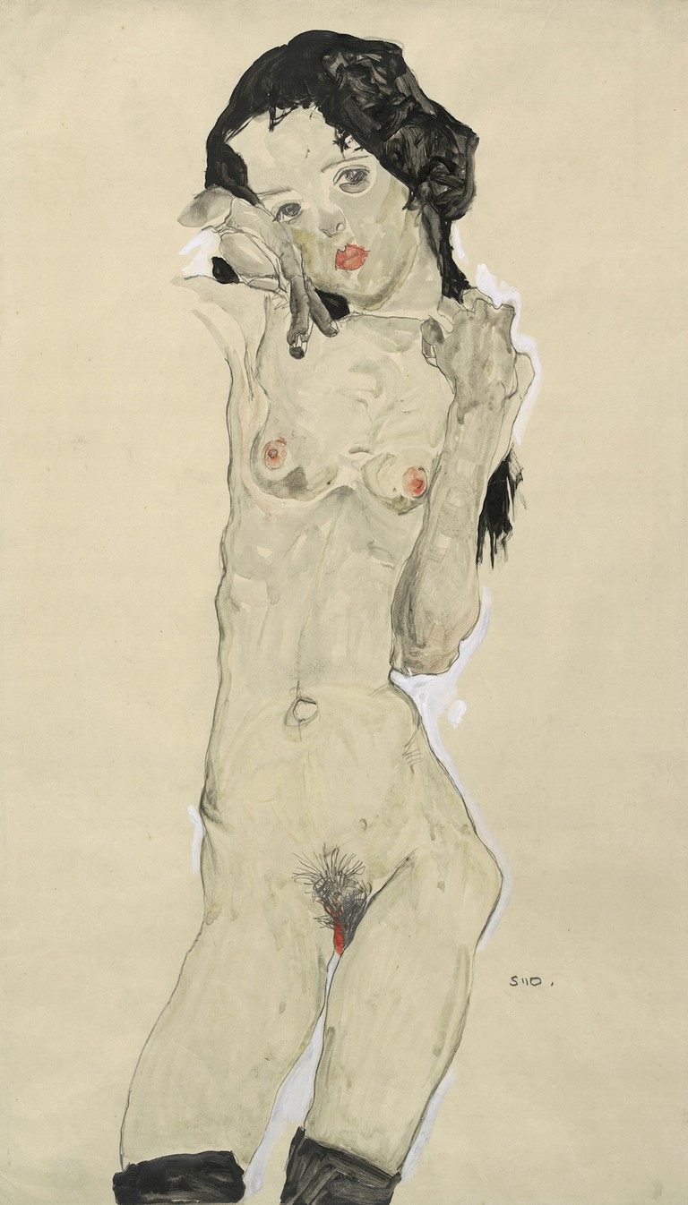 Egon Schiele Black-haired nude girl, standing, 1910 Albertina, Vienna