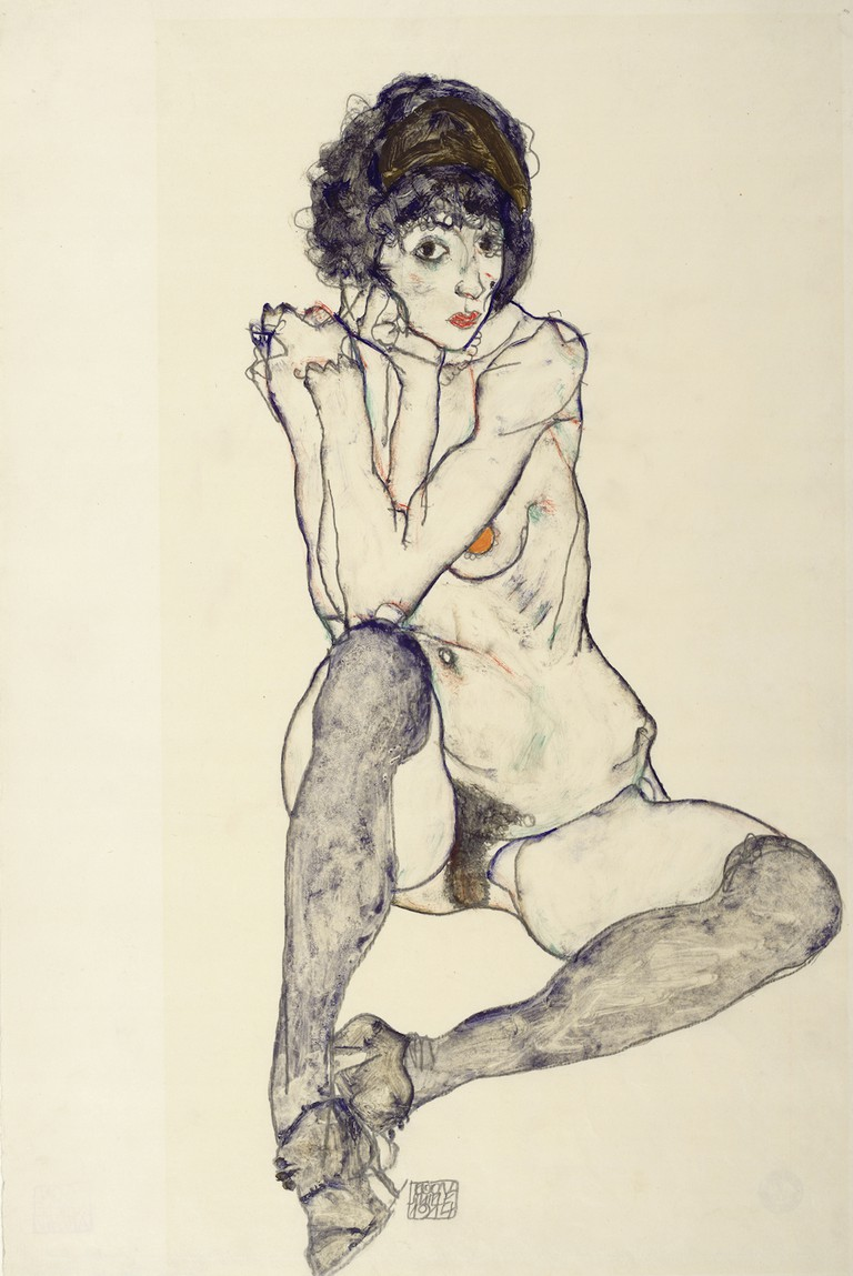 Egon Schiele Seated Female Nude, Elbows Resting on Right Knee, 1914 Albertina Vienna