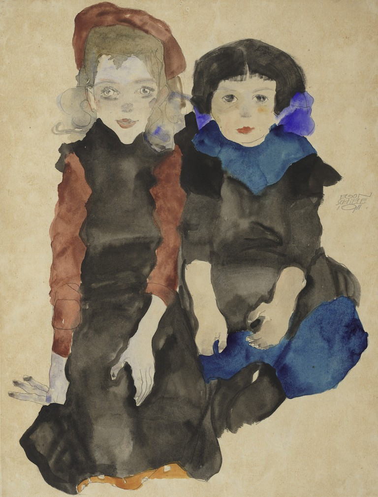 Egon Schiele Two Crouching Girls, 1911 Albertina, Vienna