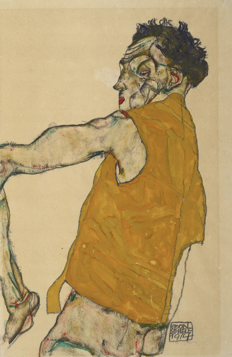 Egon Schiele Self-Portrait in Yellow Vest, 1914 Albertina, Vienna