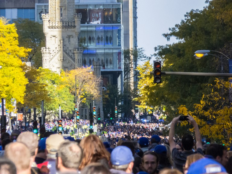 The 2016 World Series victory parade on N Michigan Ave