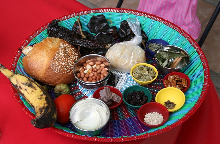 The ingredients needed to make mole, a typical Oaxacan dish