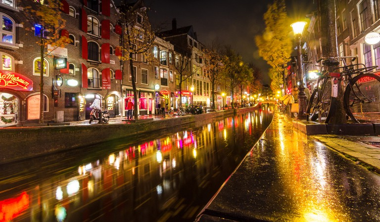 A canal in the Red Light District