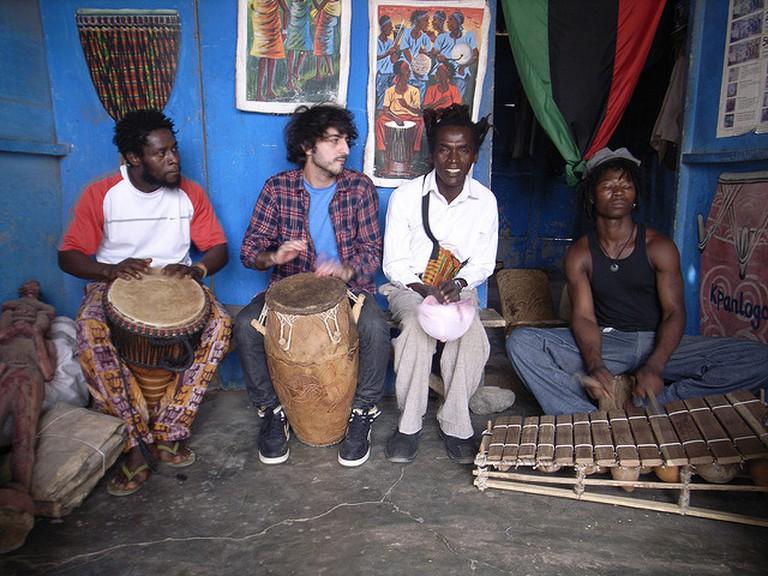 Impromptu jam session at Accra art center