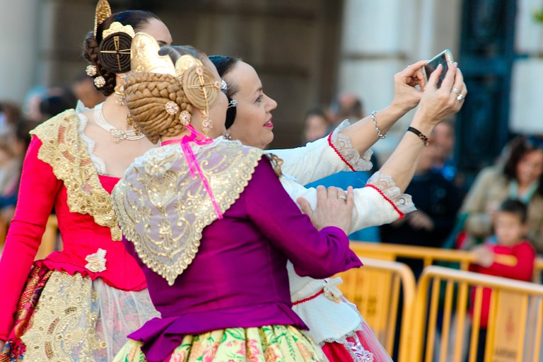 Valencian falleras in traditional dress