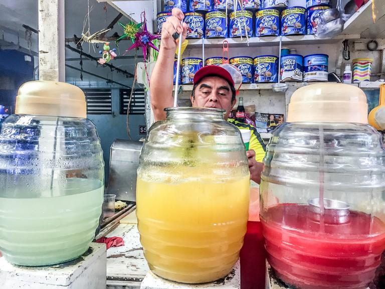 Aguas frescas are popular in markets