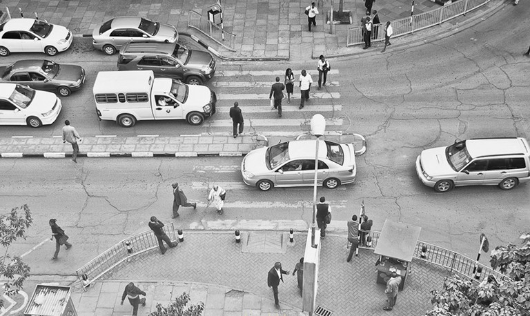 An aerial view of City Hall way crossing