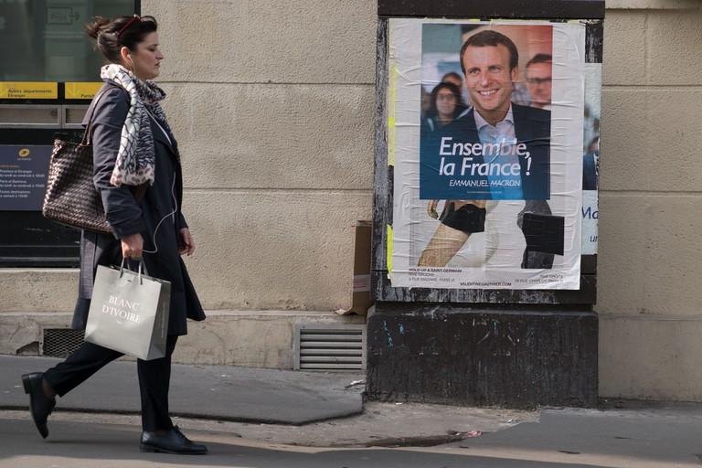 Emmanuel Macron campaign poster in Paris