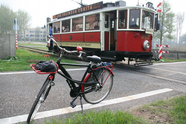 Trams and bikes in Prague