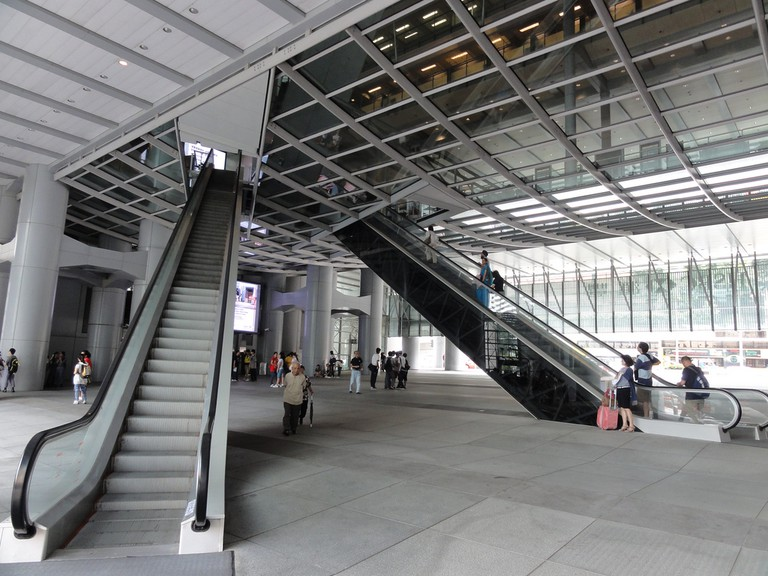 The escalators in the atrium are set at an angle