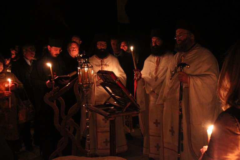 Easter in Santorini: Anastasis (Bright Saturday Night) in Prophet Elias Monastery