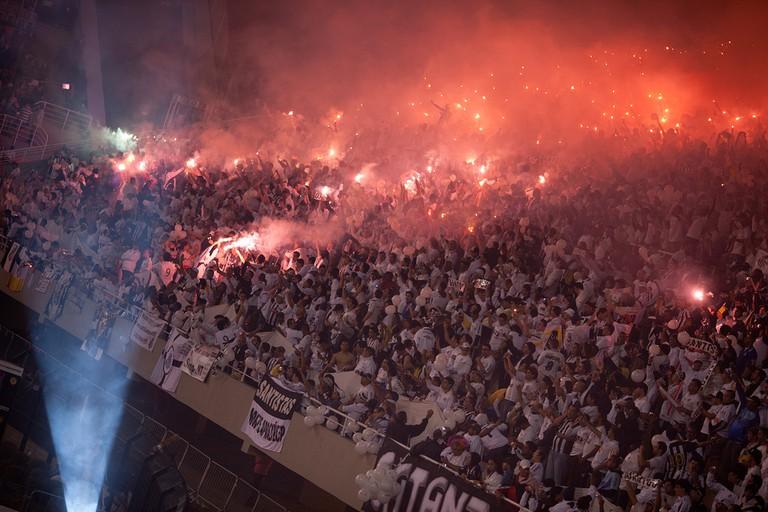 Santos fans in the Pacaembu stadium