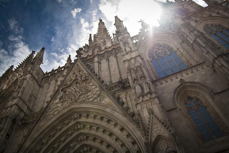 The neo-Gothic facade of the cathedral © Carwyn Lloyd Jones - Dylunio Creadigol