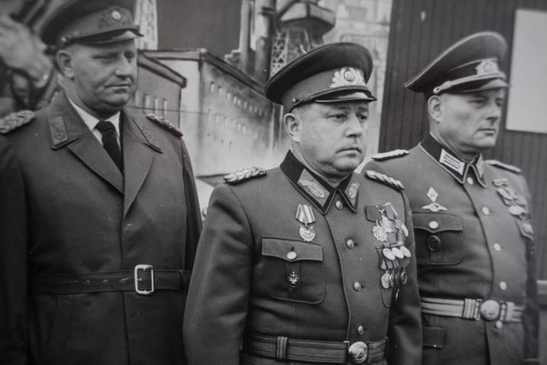 Stasi boss Erich Mielke pictured in the centre