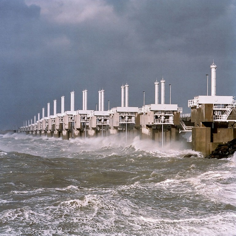 The Delta Work's Oosterscheldedam is among the largest storm barriers in the world