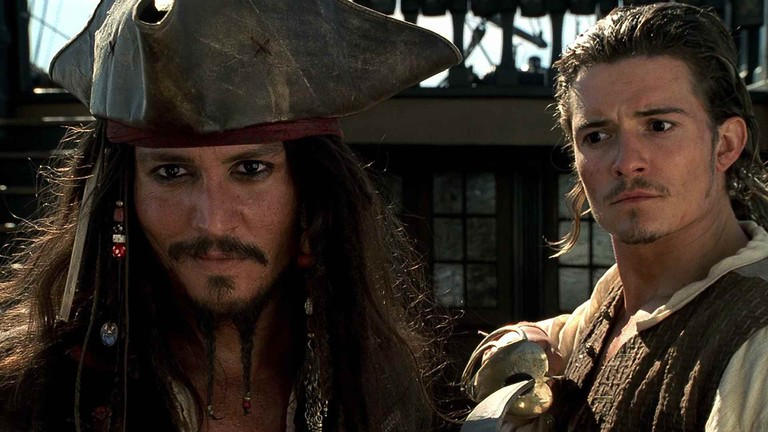 Johnny Depp and Orlando Bloom in 'Pirates of the Caribbean: The Curse of the Black Pearl'