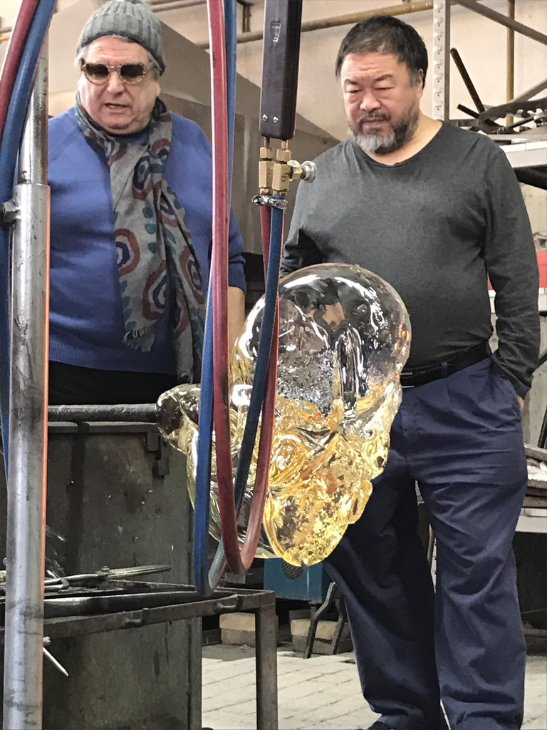 Ai Weiwei in the Berengo Studio furnace, 2016, Photo credit: Marco Berengo