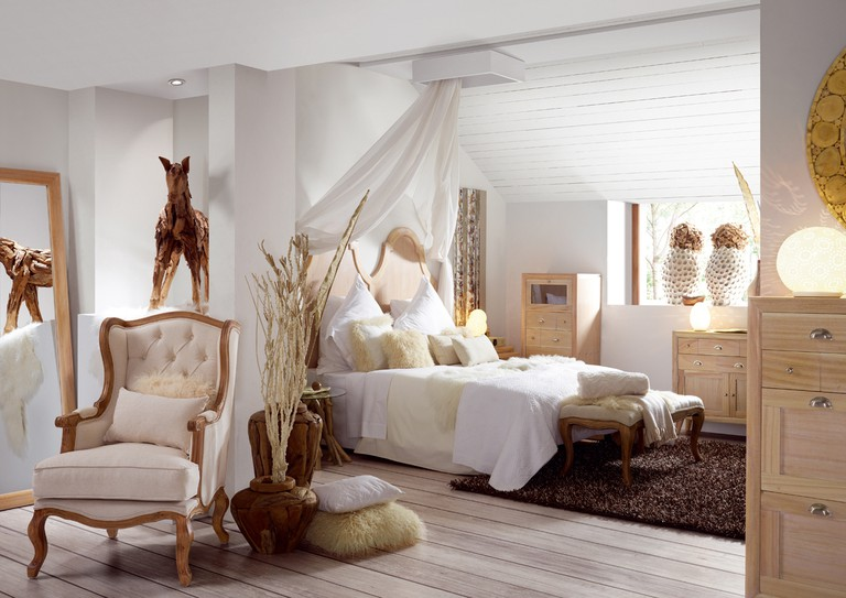 Lighter wood makes the room look breezy