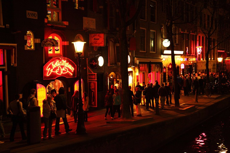 Crowds passing through the Red Light District