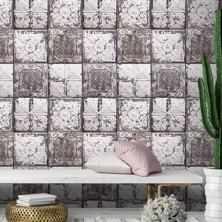 Antique tin-tiles feature wall wallpaper in grey