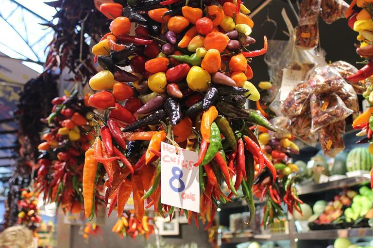 The stalls of the Boqueria market