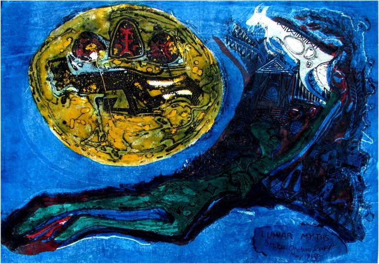 """Bruce Onobrakpeya, """"Lunar Myths,"""" Deep Etching, 1970."""