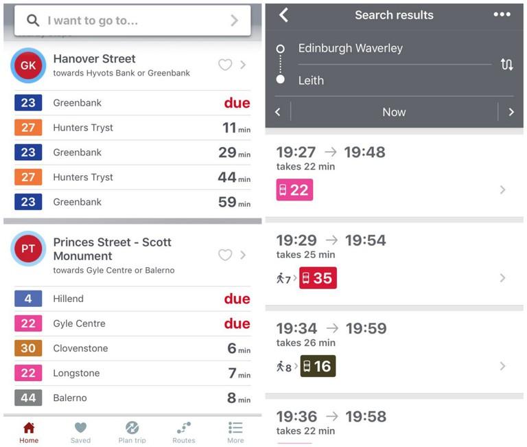 Transport For Edinburgh App Screenshots