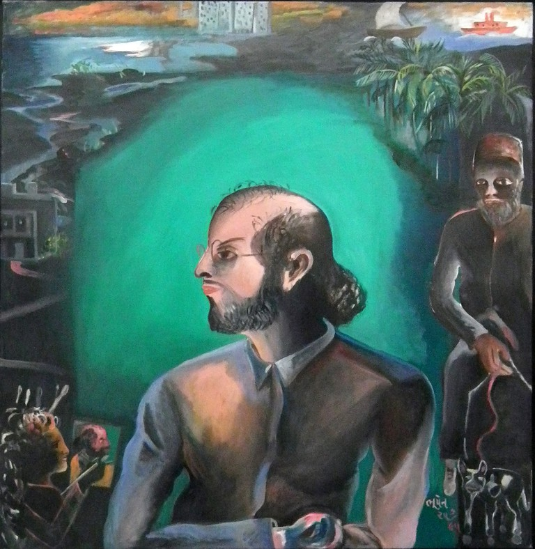 Salman Rushdie by Bhupen Khakhar