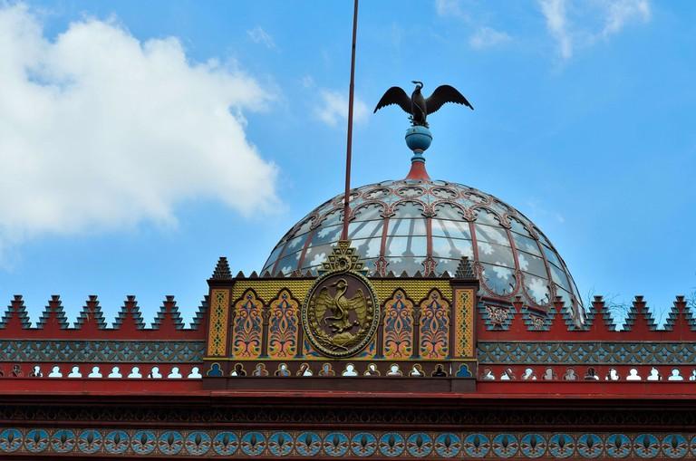Close-up detail of the Kiosco Morisco's dome