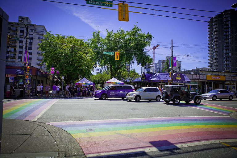 Davie Street's colourful crosswalks