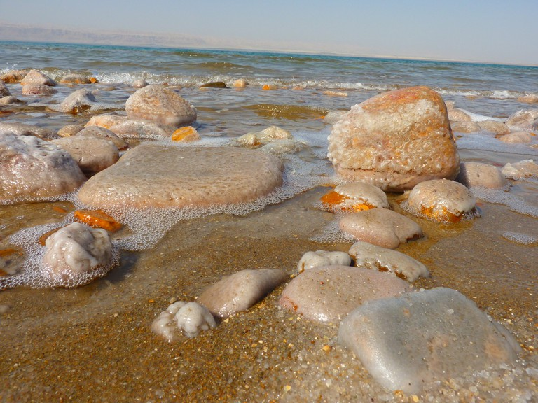 Salty rock formations at the Dead Sea