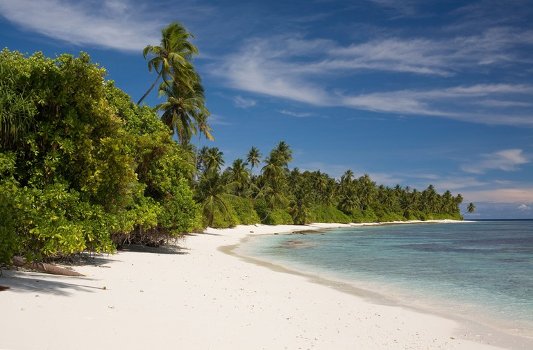 The deserted beaches of Laamu Atoll, The Maldives.